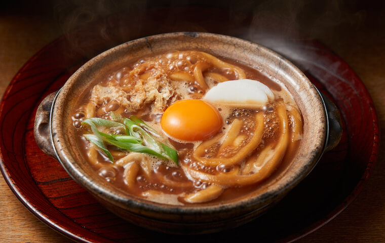 Stewed miso udon noodles